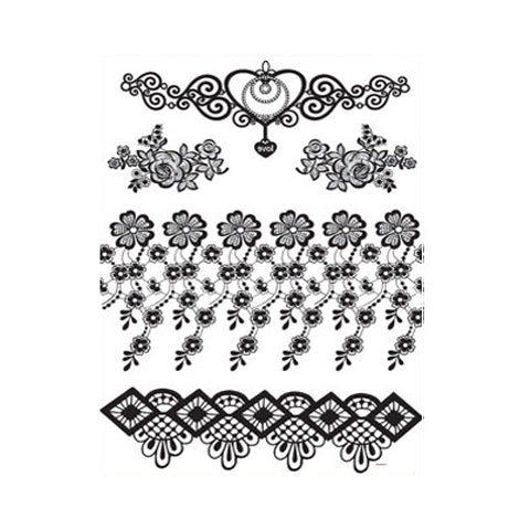 Indian Mehndi  Lace Stickers Set