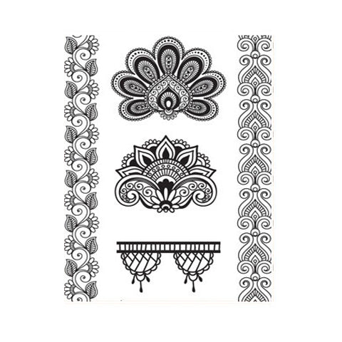 Lace Indian Mehndi Lotus Floral Set
