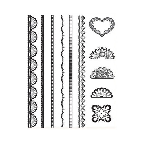 Lace Indian Mehndi  Heart Stripes Set