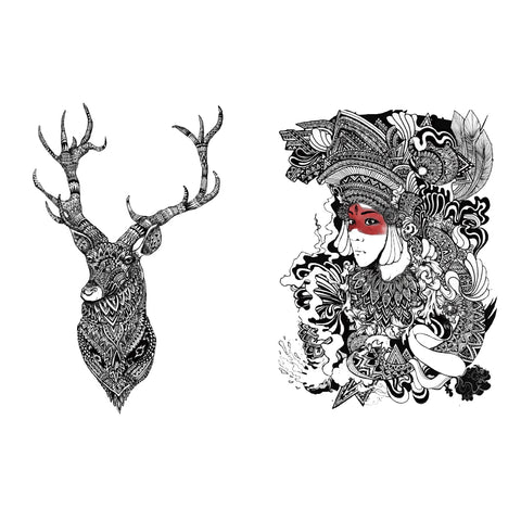 Deer Animal& Woman Portrait
