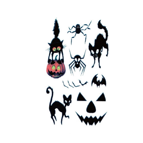 Halloween Cartoon Cats Cute Tattoo Sticker