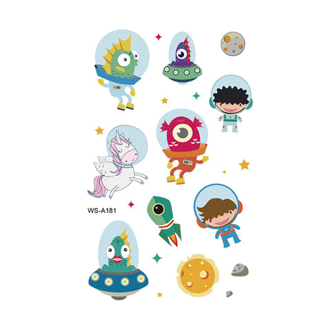 Cartoon Space Alien Tattoo Stickers for Kids