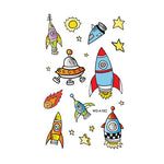 Cartoon Spaceship Tattoo Stickers for Kids