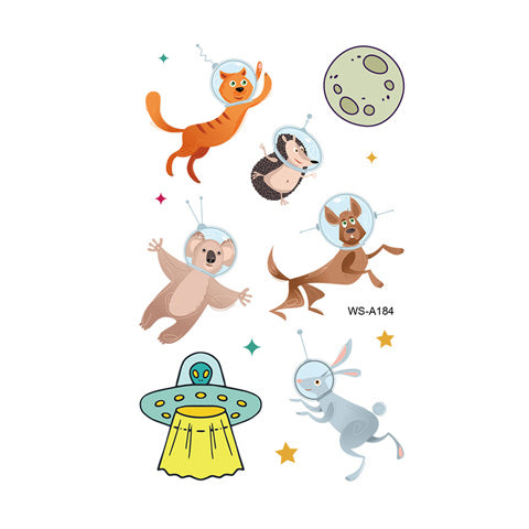 Cartoon Space Animal Tattoo Stickers for Kids