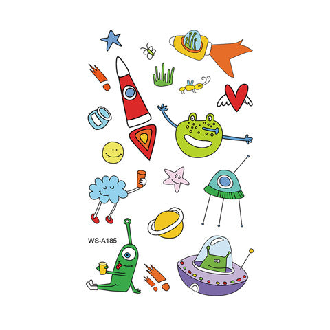 Cartoon Cute Spaceship Alien Tattoo Stickers for Kids