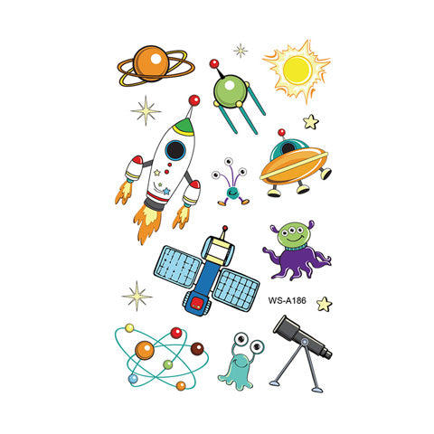 Cartoon Spaceship Icon Tattoo Stickers for Kids