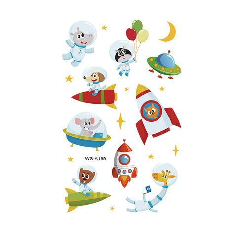 Cartoon Rocket and Animal Tattoo Stickers for Kids