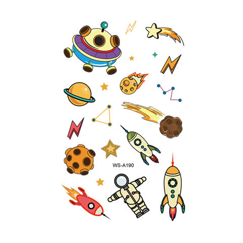 Colored Rocket Tattoo Stickers for Kids