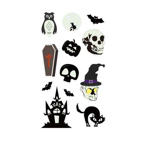 Halloween Decals Skull Ghost Cat Glow in the Dark