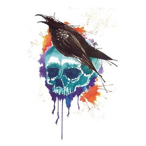Watercolor Crow and Skull