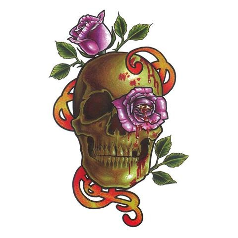 Pop Rose Skull Tattoo Sticker