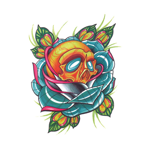 Pop Skull and Cyan Rose Tattoo Sticker