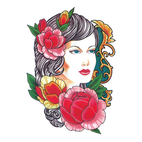 Pop Floral Lady Tattoo Sticker