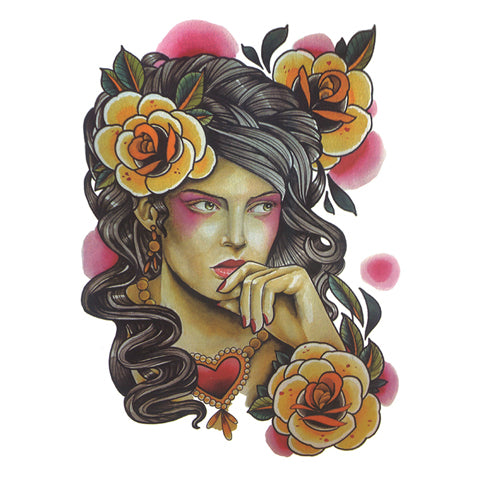 Pop Vintage Floral Lady Portrait Tattoo Sticker