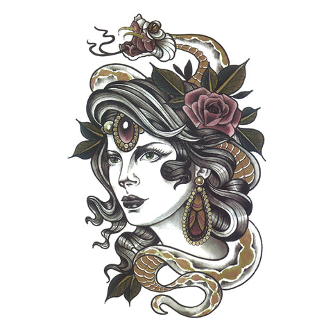 Pop Snake Lady Portrait Tattoo Sticker