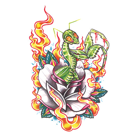 Pop Mantis Tattoo Sticker