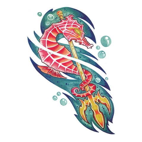 Pop Seahorse Tattoo Sticker