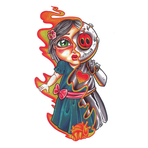 Pop Zombie Girl Tattoo Sticker