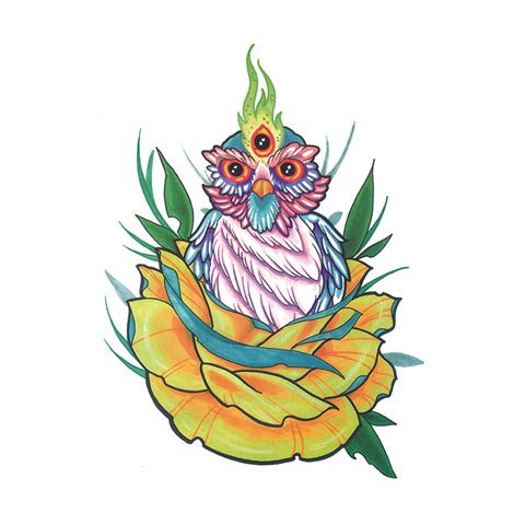 Pop Three Eye Owl Tattoo Sticker
