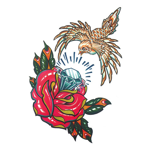 Pop Diamond Rose Tattoo Sticker