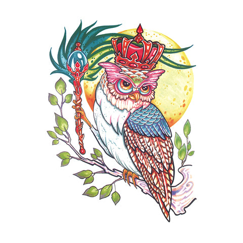Pop Owl with Crown Tattoo Sticker