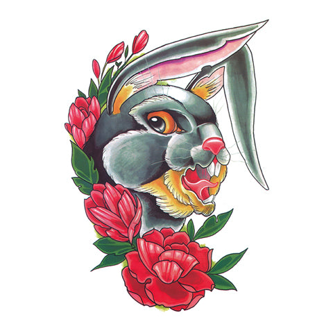 Pop Rabbit and Flower Tattoo Sticker