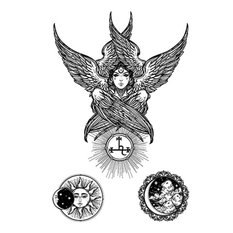 Girl with Sun and Moon Eagle  (Semi-Permanent)