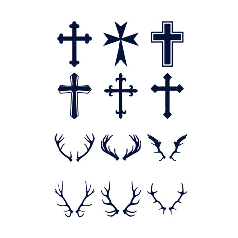 Simple Icon Cross Deer Antler (Semi-Permanent)