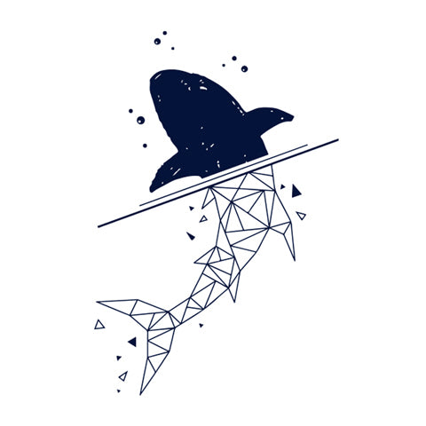 Geometric Whale Tattoo Sticker (Semi-Permanent)