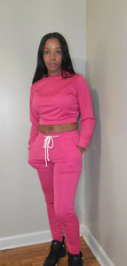Long sleeve crop top jogger set