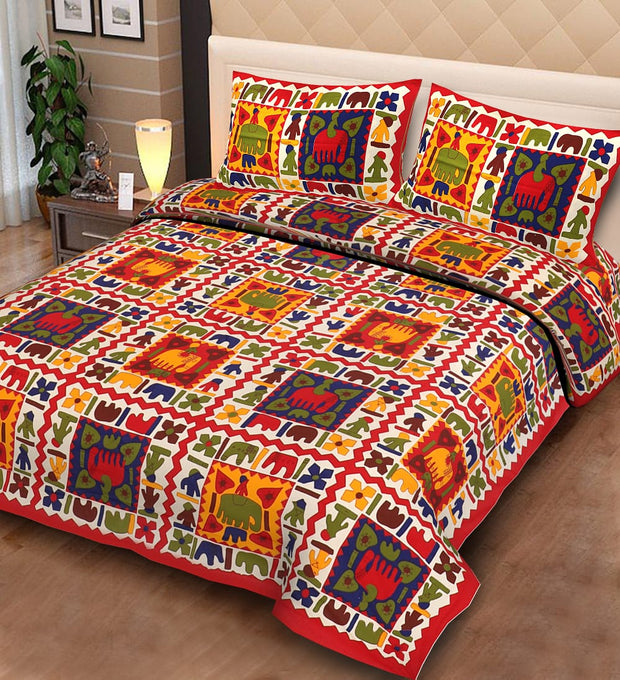 COTTON DOUBLE RAJASTHANI PRINT BEDSHEET