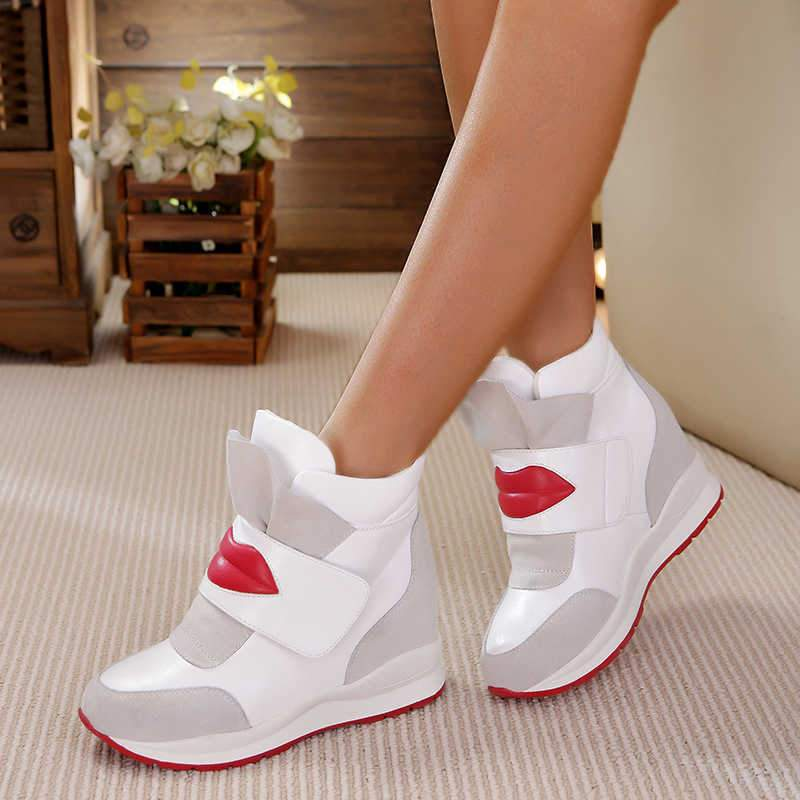 Women Fashion Red Lips Pattern Velcro Mixed Colors Inner Height Increasing Platform Sneakers