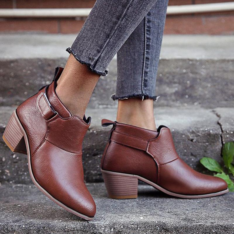 Women Retro Leather Chunky Heel Daily Ankle Boots