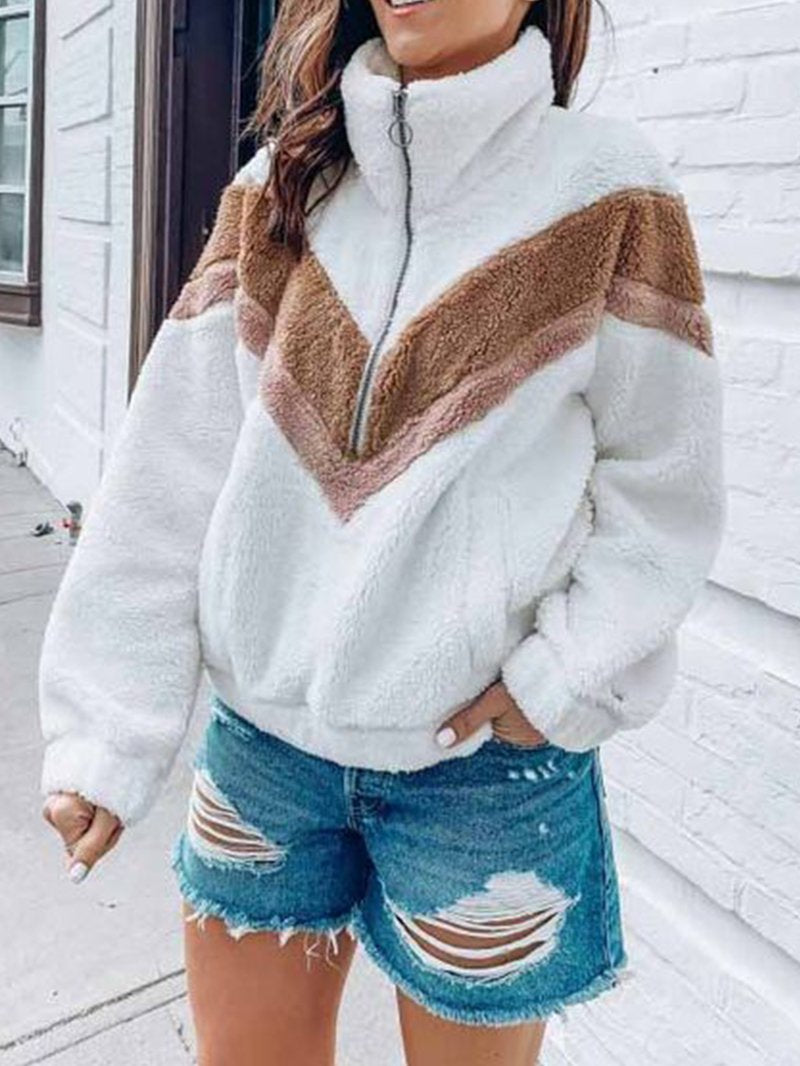 Fashion Contrast Zipper Lapel Sweater