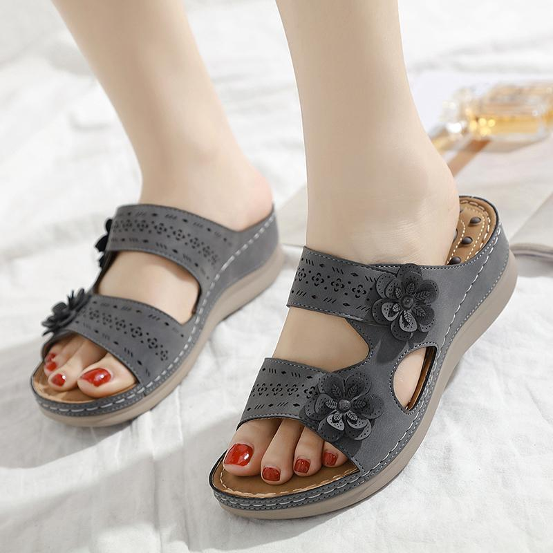 Women Retro Light Wedges Non-Slip Slippers Large Sandals