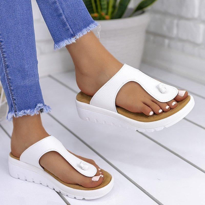 Women Casual Summer Comfy Thong Slip On Wedge Sandals