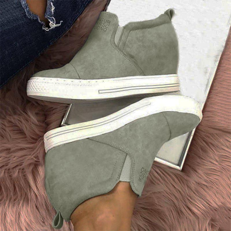 Fashion Letter Slip On Wedge Sneakers Faux Suede Wedge Heel Casual Sneakers