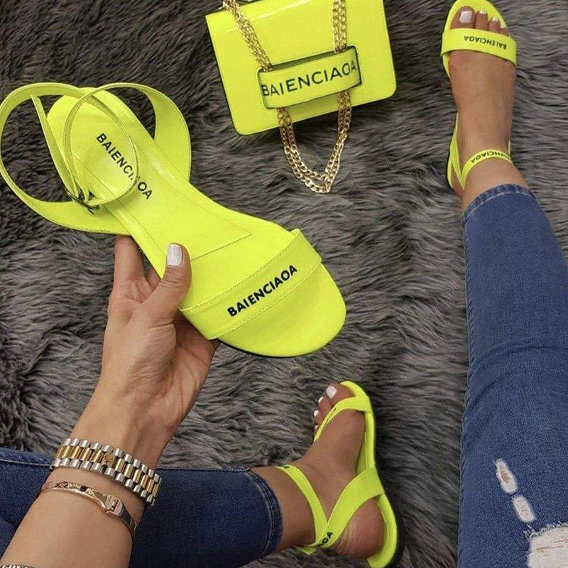 Women Casual Summer Daily Buckle Strap Flat Sandals