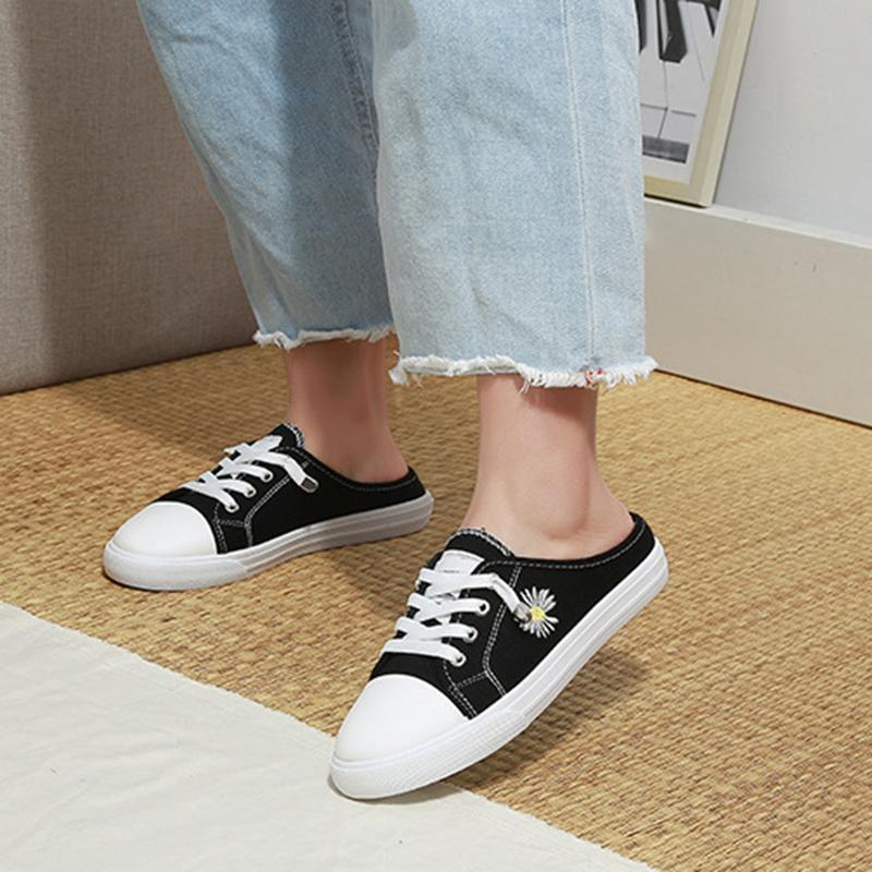 Women Chic Floral Embroidered Canvas Mule Sneakers