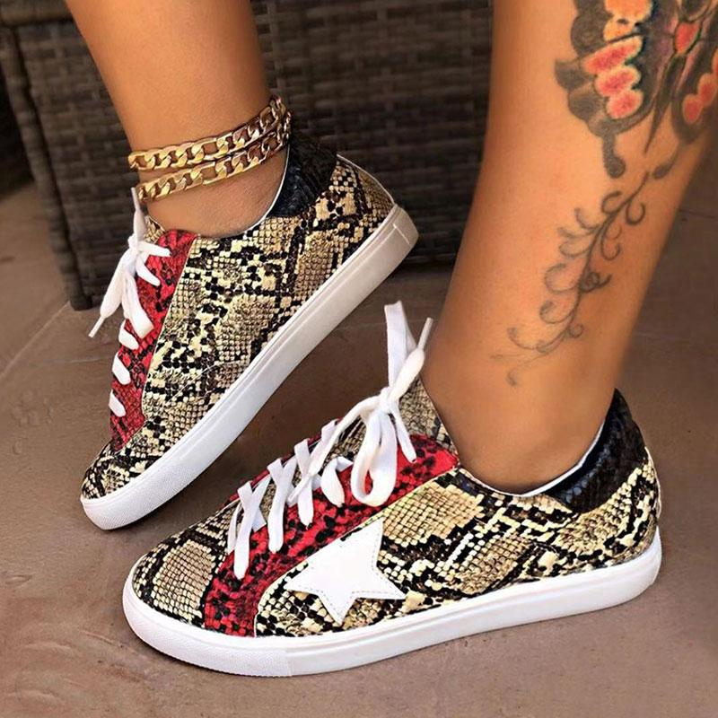 Women's Casual Flat Sports Snake-Print Shoes