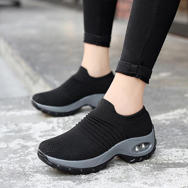 Women's running sneakers breathable shock absorption mesh light non-slip socks shoes