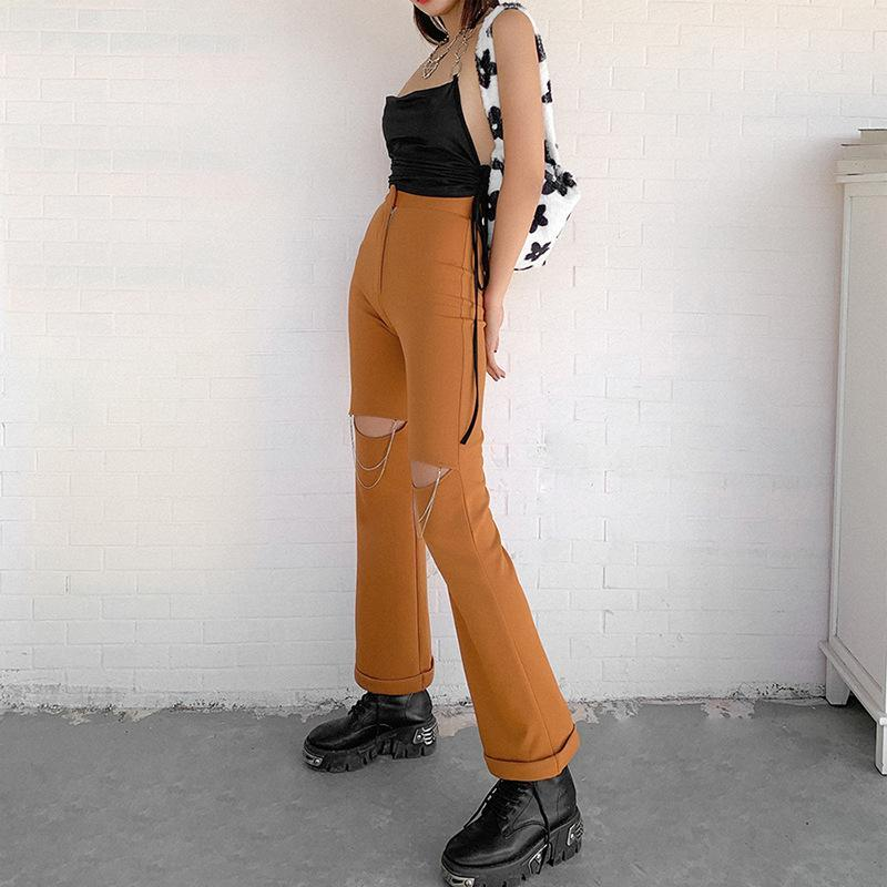Ripped simple casual flared trousers
