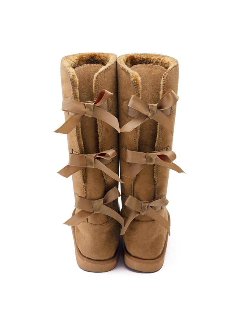 Women's Boots Bow-tied Suede Snow Boots