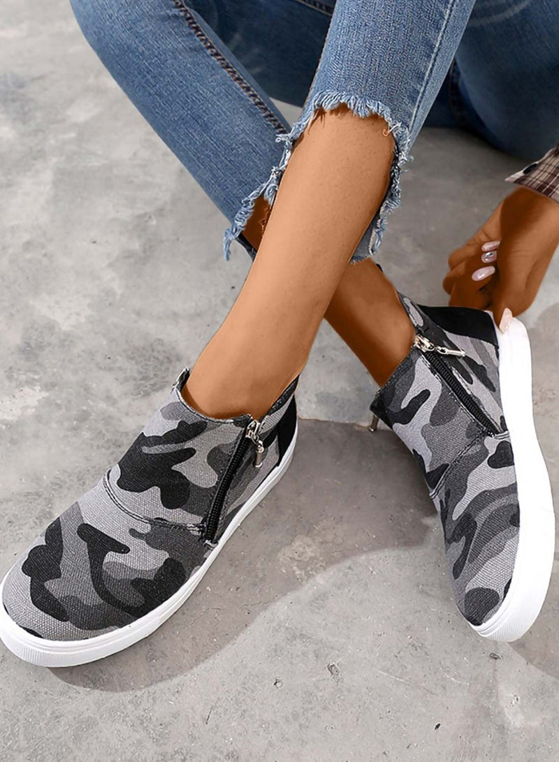 Women's Shoes Canvas Camouflage Casual Zipper Shoes
