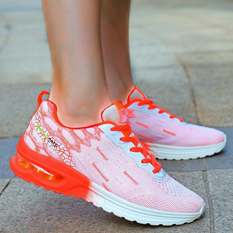 Women Gorgeous Flyknit Fabric Hit Color Lace Up Air Cushion Sneakers