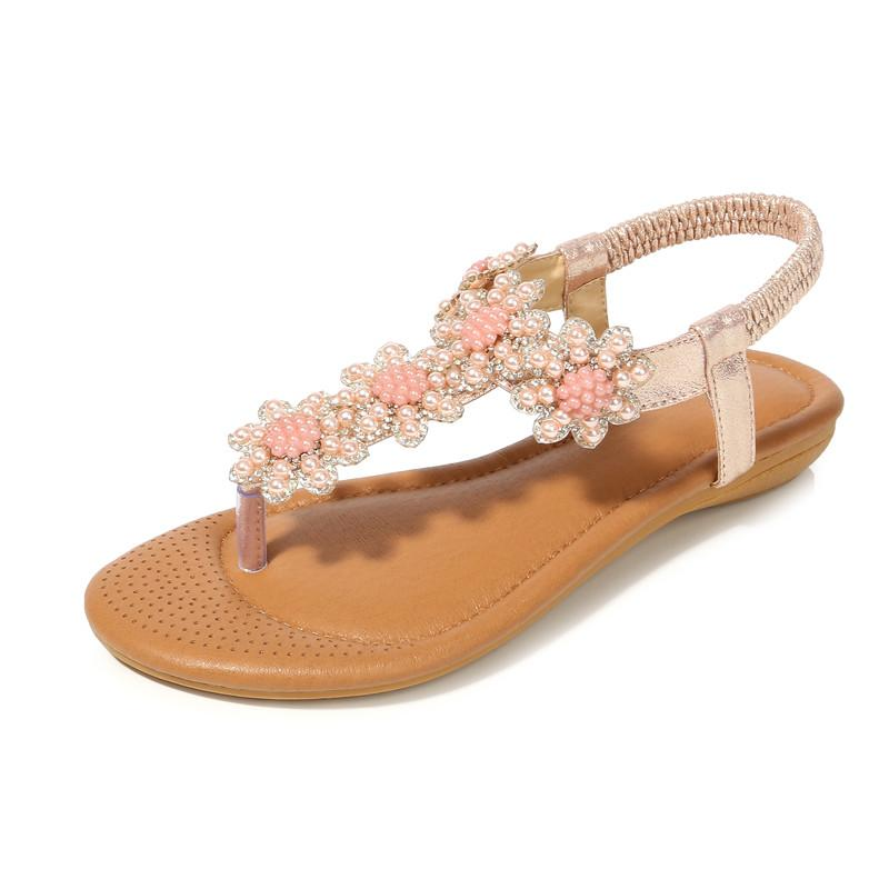 Women Vintage Beaded Casual Flats Sandals