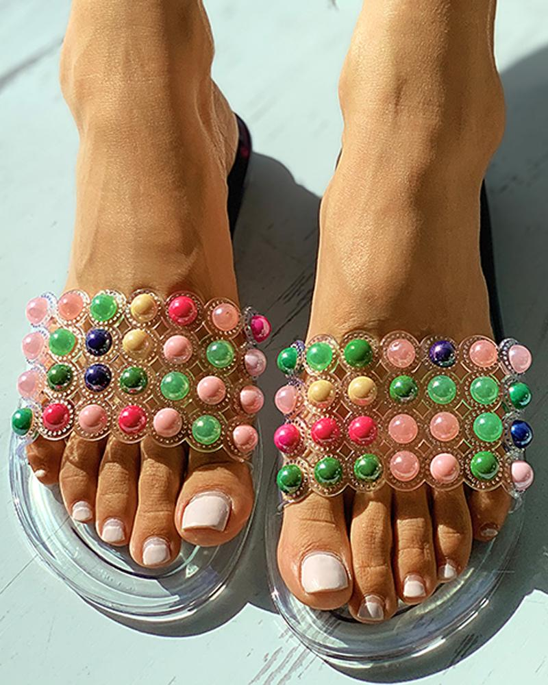 Clear Perspex Colorful Beaded Open Toe Flat Sandals