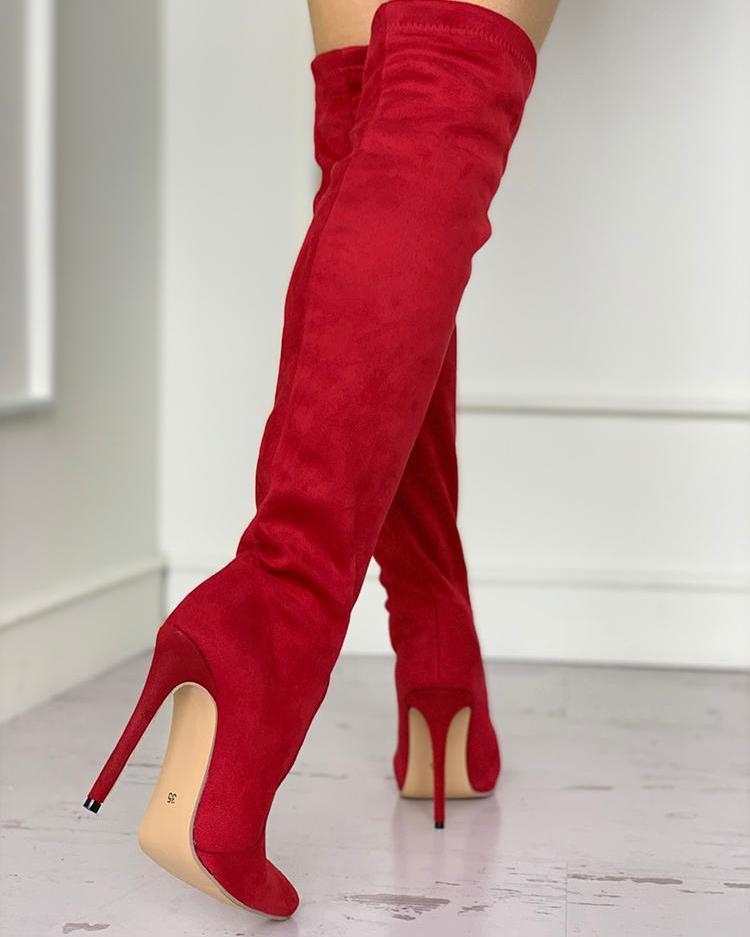 Pointed Toe Over The Knee Thin Heeled Boots