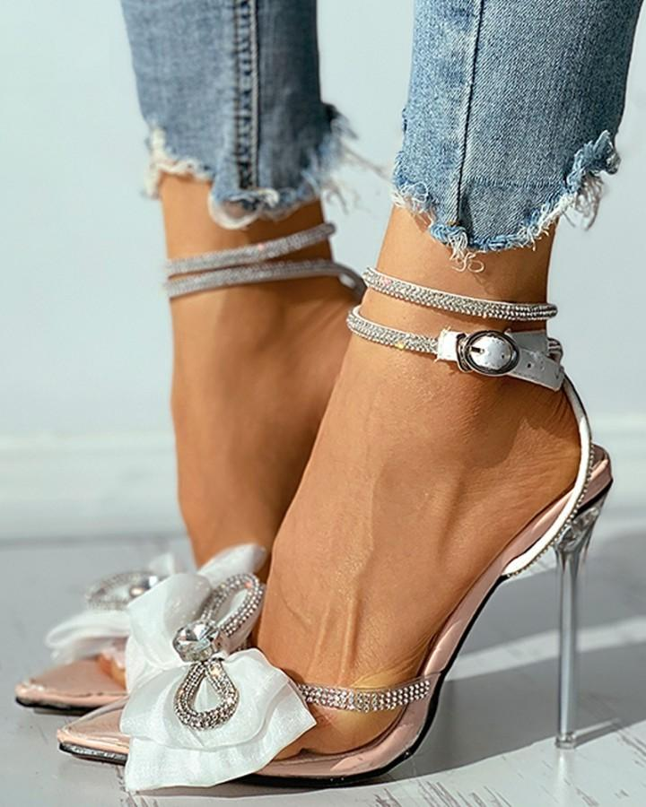 Pointed Toe Studded Bowknot Clear Perspex Stiletto Heel