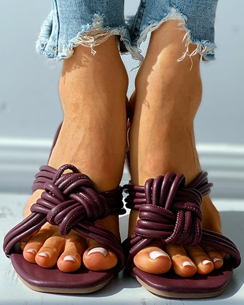 Braided Square Toe Flat Sandals
